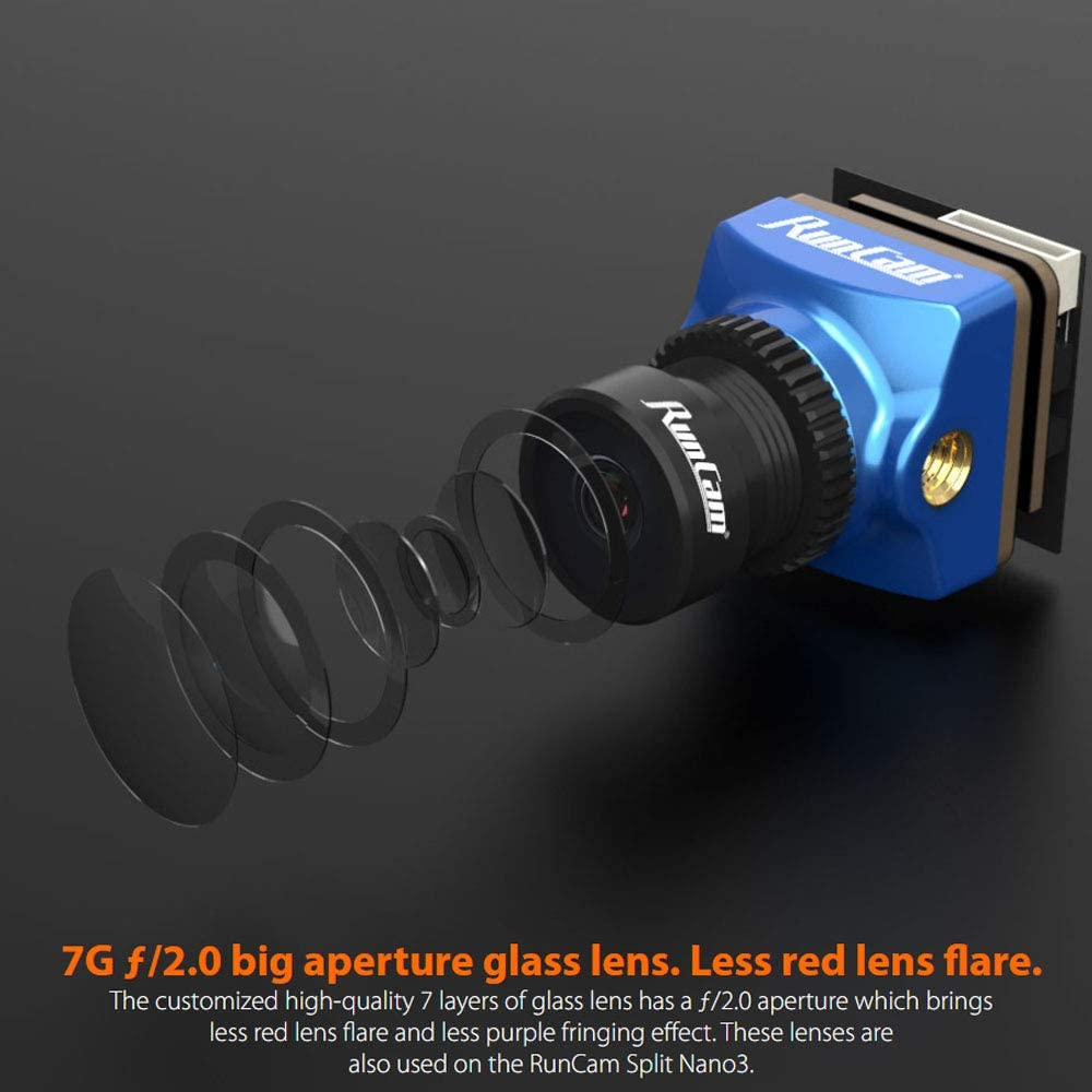 3 16 9 Commutabile per Rc Fpv Racing Drone Quadricottero Blu Obiettivo 1Mm 4 2Inch Super Global Sensore di Immagine Wdr Mini Cam con 2 Runcam Phoenix 2 Nano Fpv Camera 1000Tvl Fov 155 Gradi 1