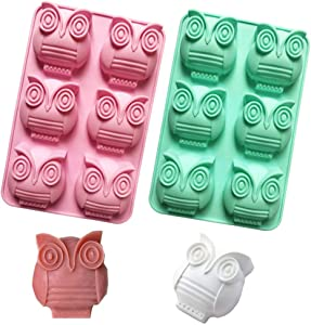 2 Pack 6-Cavity Owl Silicone Soap Molds Cartoon Owl Shaped Chocolate Candy Molds Nonstick Lotion Bars Jello Ice Cube Tray Food Grade Baking Muffin Cupcake Cookie Bread Pan (Random Color