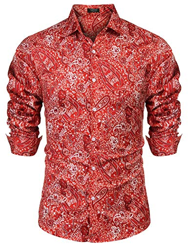 COOFANDY Men's Floral Dress Shirt Slim Fit Casual Paisley Printed Shirt Long Sleeve Button Down Shirts Red