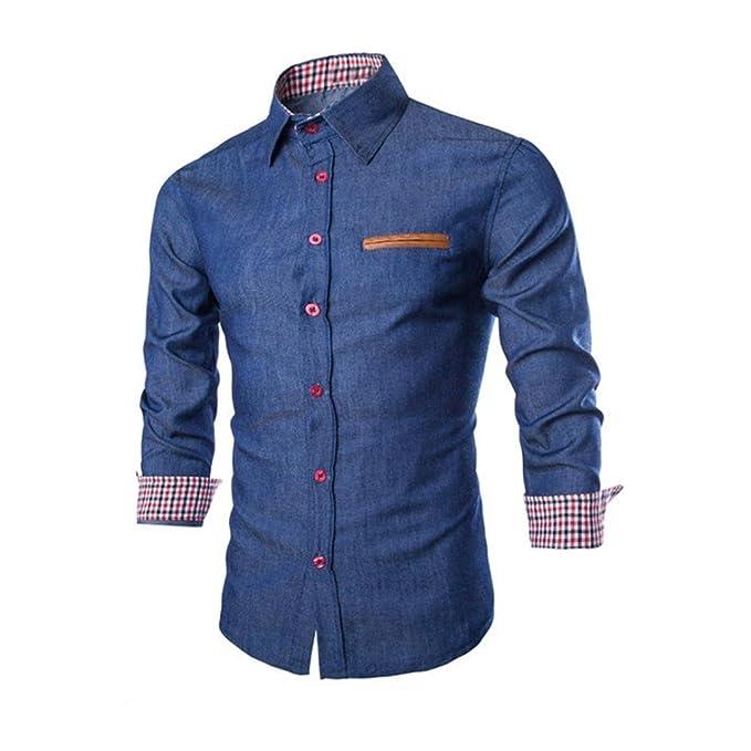 6e0e3493dc2a Culater Hombre Camisas de vestido formal Moda Manga Larga apta delgada con  estilo Azul (S