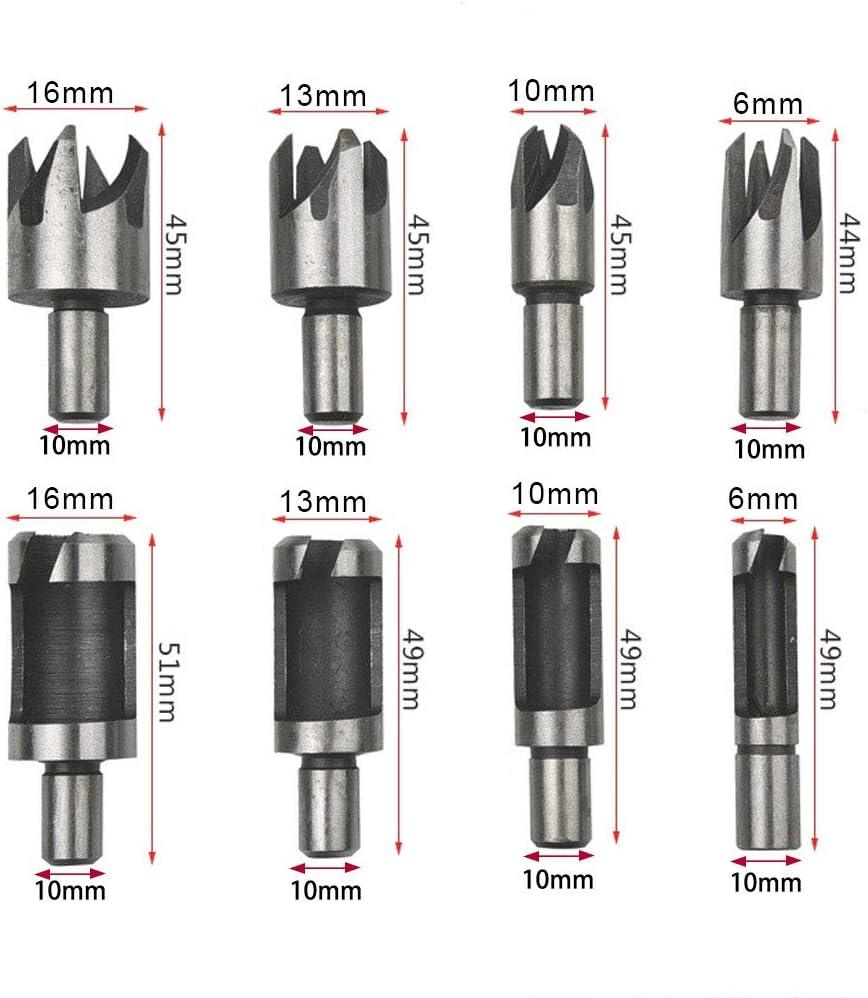 ManLee 8pcs Fraise /à Bouchonner Bois en Acier au Carbone pour Perceuse d/établi et Perceuse /à main-6mm,10mm,13mm,16mm