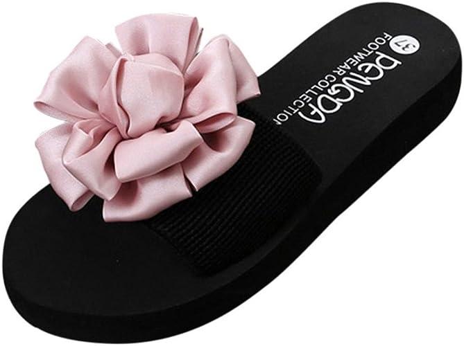 Chaussures Femme été Gongzhumm Tongs à Talons été Femmes Fleur 3d Satin élégant Sandales De Mousse Femmes Chaussures De Plage Talon Haut 3cm Amazon Fr Chaussures Et Sacs