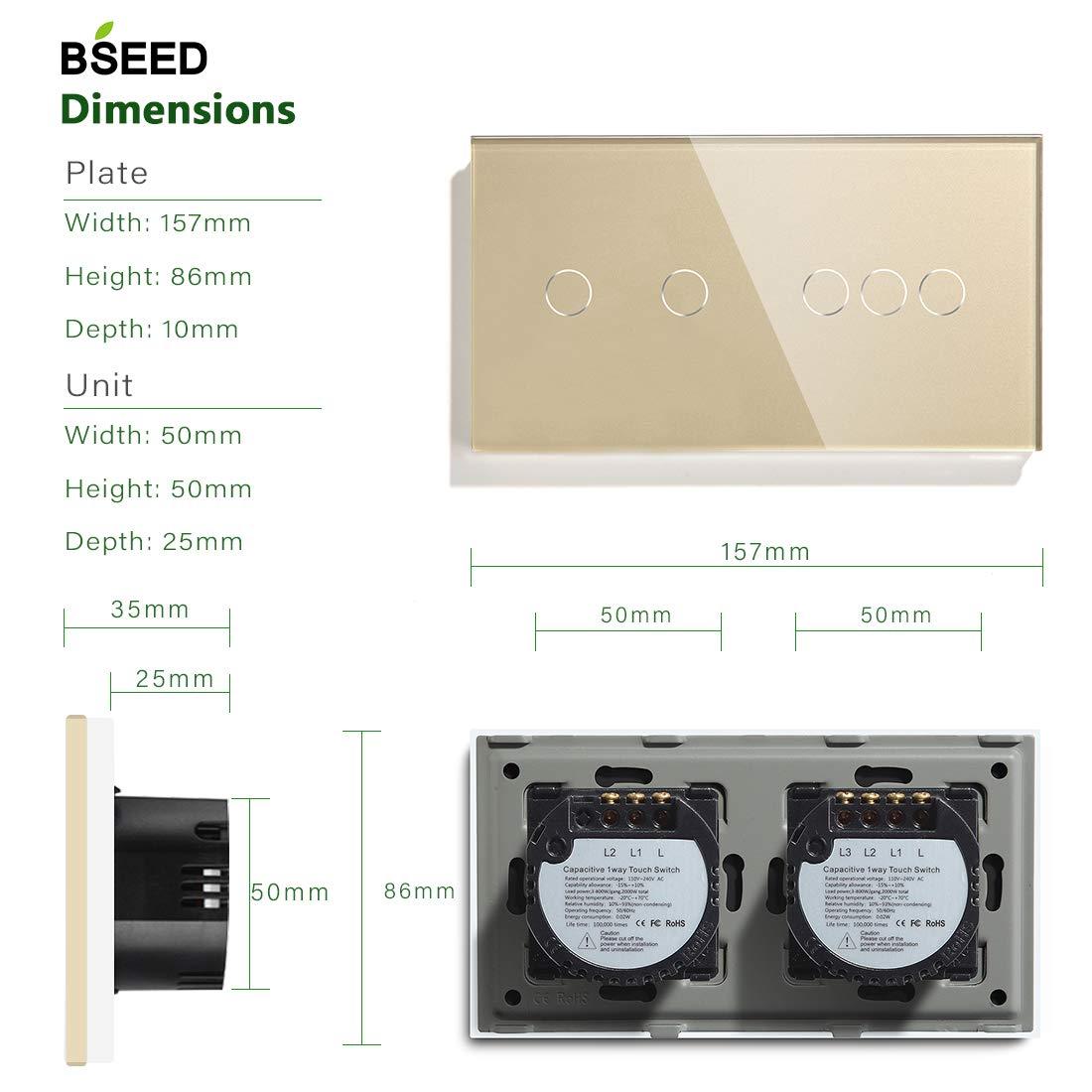 Compatible con Alexa//Tuya//IFTT Panel de Vidrio 157 86 Interruptor de La Luz de La pared BLanco BSEED Atenuador T/áctil y Conmutador WIFI 2 Gang 1 Way Se Necesita Cable Neutro