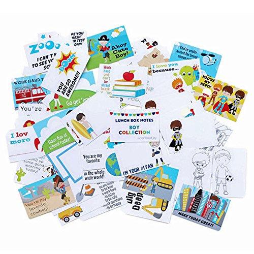Sprinkled Joy 50 Designer Lunchbox Notes - Boy Theme (2X3 Inch)