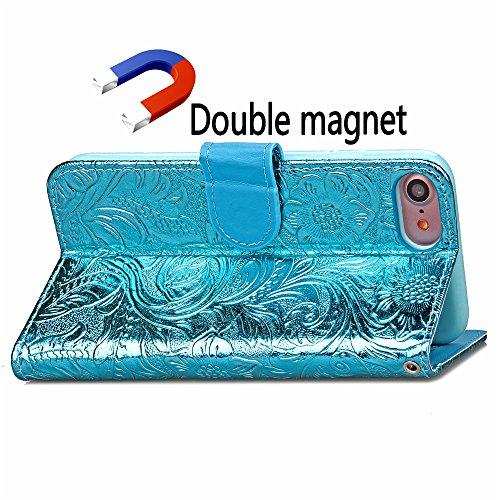 iPhone 7 Hülle, Cozy Hut ® Design Genuine Leather Series Hülle | Apple iPhone 7 | [Granatapfel-Muster] Elastisch [blau ] Ultimative Schutz vor Stürzen und Stößen - [Skinning-Karte] Zubehör Tasche Case