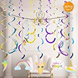 BELLA BAYS Unicorn Party Supplies Set with Disposable Tableware, Cake Toppers, Party Hanging Decoration Kit, Blowouts, Eye Masks, Invitation Cards &Gift Bags Kids Party Favors (White Unicorn)