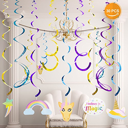 Unicorn Party Supplies Valued Pack Hanging Swirl Foil Decorations Spiral Ornaments,30 Pieces