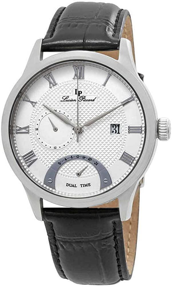 Lucien Piccard Men s Volos Quartz Stainless Steel and Black Leather Casual Watch Model LP-10339-02S