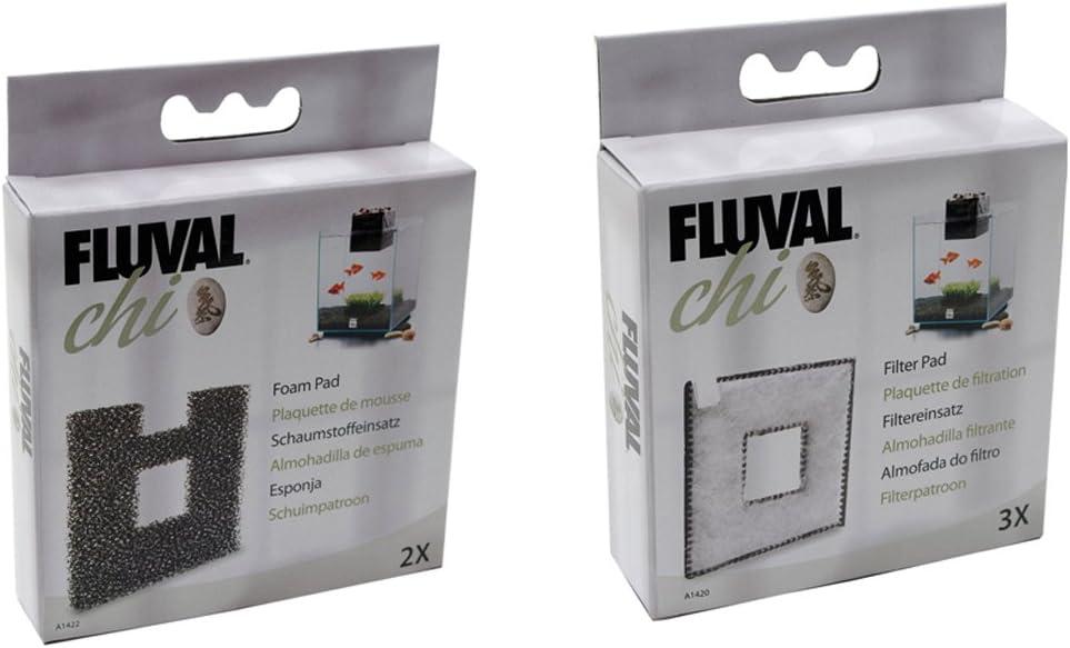 Acuario Fluval Chi - 19 & 25L filtermedia Bundle Filtro Pads 3PK + almohadillas de espuma (2 paquetes de auténtica) A1420 + A1422