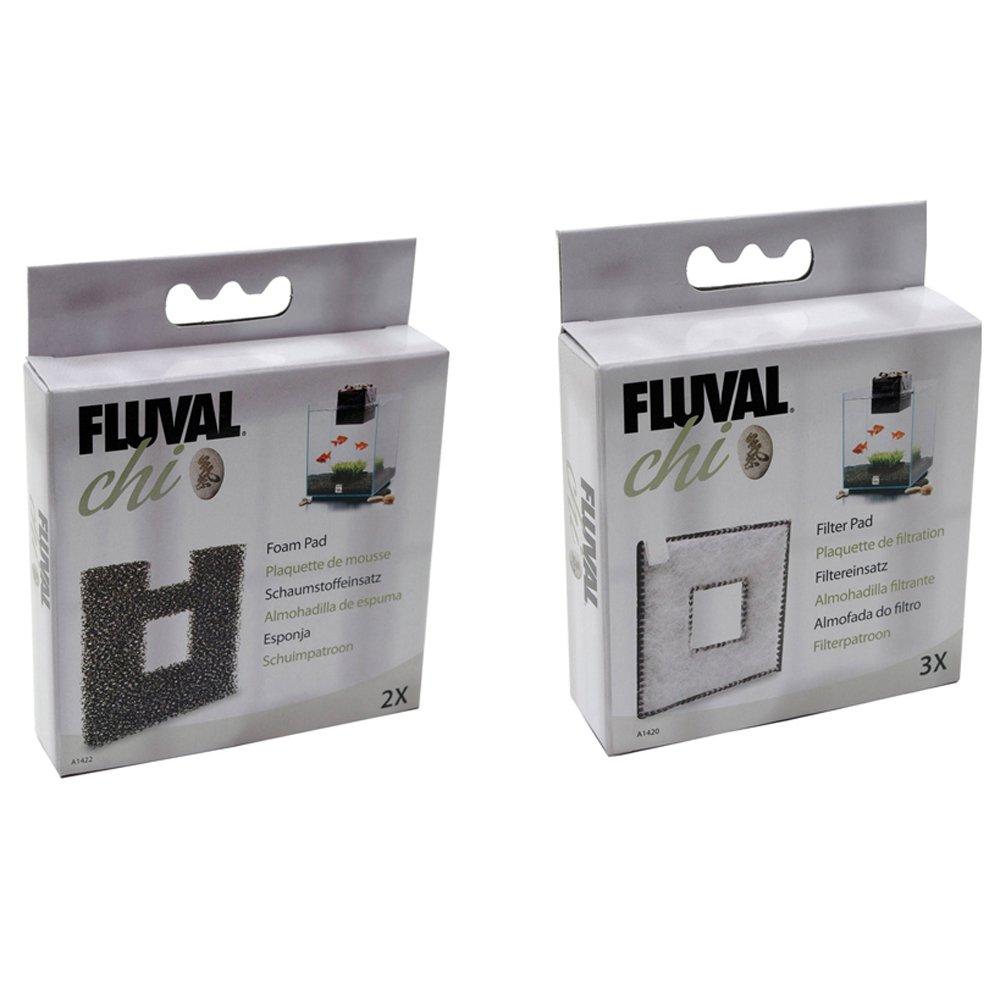 Acuario Fluval Chi - 19 & 25L filtermedia Bundle Filtro Pads 3PK + almohadillas de espuma (2 paquetes de auténtica) A1420 + A1422: Amazon.es: Hogar