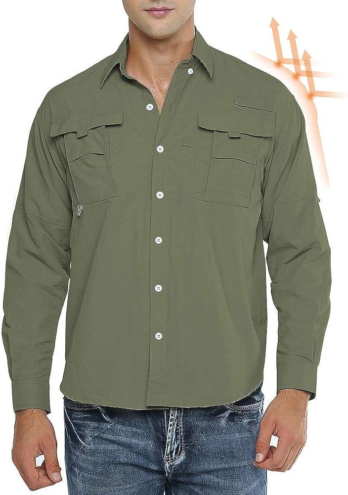 Mens Long Sleeve Sun Protection Shirt Quick Dry Safari Outdoor Dri-fit T-Shirt for Running Hiking Fishing