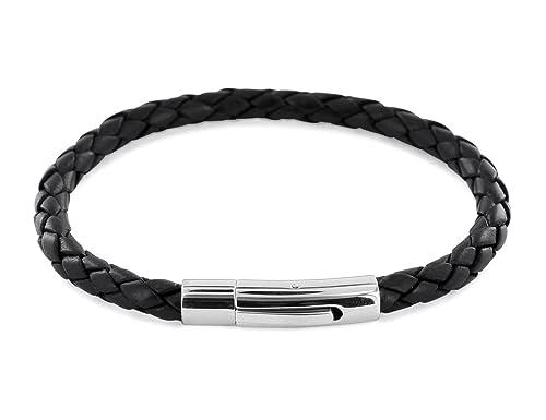 AURORIS Echtleder-Armband geflochten 5mm mit Hebeldruckverschluss aus Edelstahl Farbe: schwarz