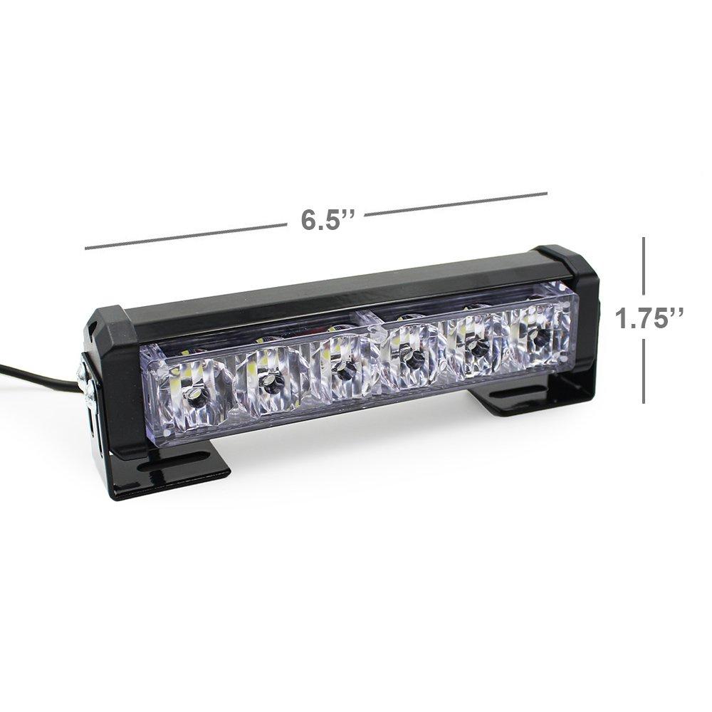 9 Modes Traffic Advisor Emergency Beacon Warning Vehicle Strobe Flashing Lights Bar Kit for Interior Roof//Dash//Windshield//Grille//Deck 2 X 24W 6.5 LED Emergency Strobe Light Bar