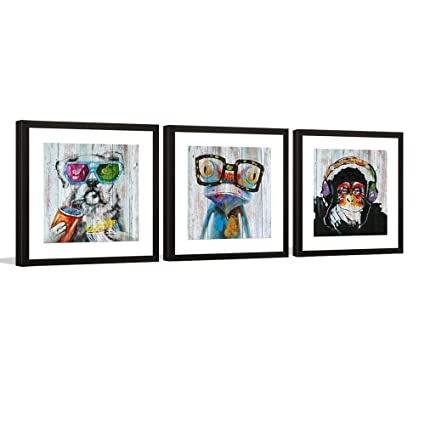 Amazon.com: Animals Canvas Wall Art, Modern Gorilla Monkey Music Oil ...