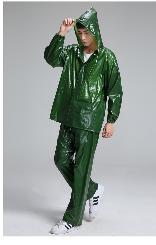 Raincoat Mar del PVC de Goma del pa/ño del tend/ón de Split Lluvia del Impermeable al Aire Libre de los Pantalones Set On Foot Ride Poncho para la Lluvia Ropa Chaqueta Impermeable