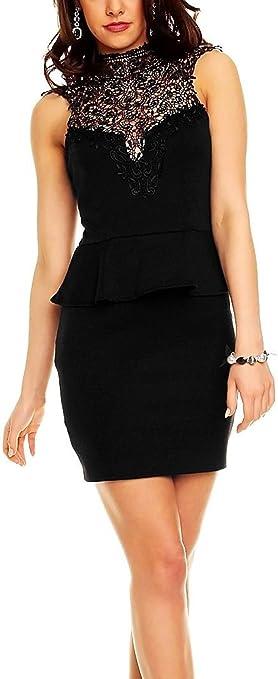 TALLA L. Boliyda Bodycan de corte bajo vestido delgado Slim club vestido informal para las mujeres Negro3 L