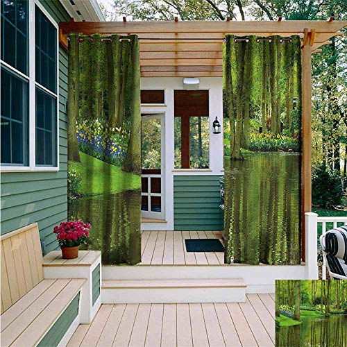 AFGG Custom Outdoor Curtain,Nature Forest with Lake Botany,Energy Efficient, Room Darkening,W84x108L (Square Lake Market Forest Christmas)