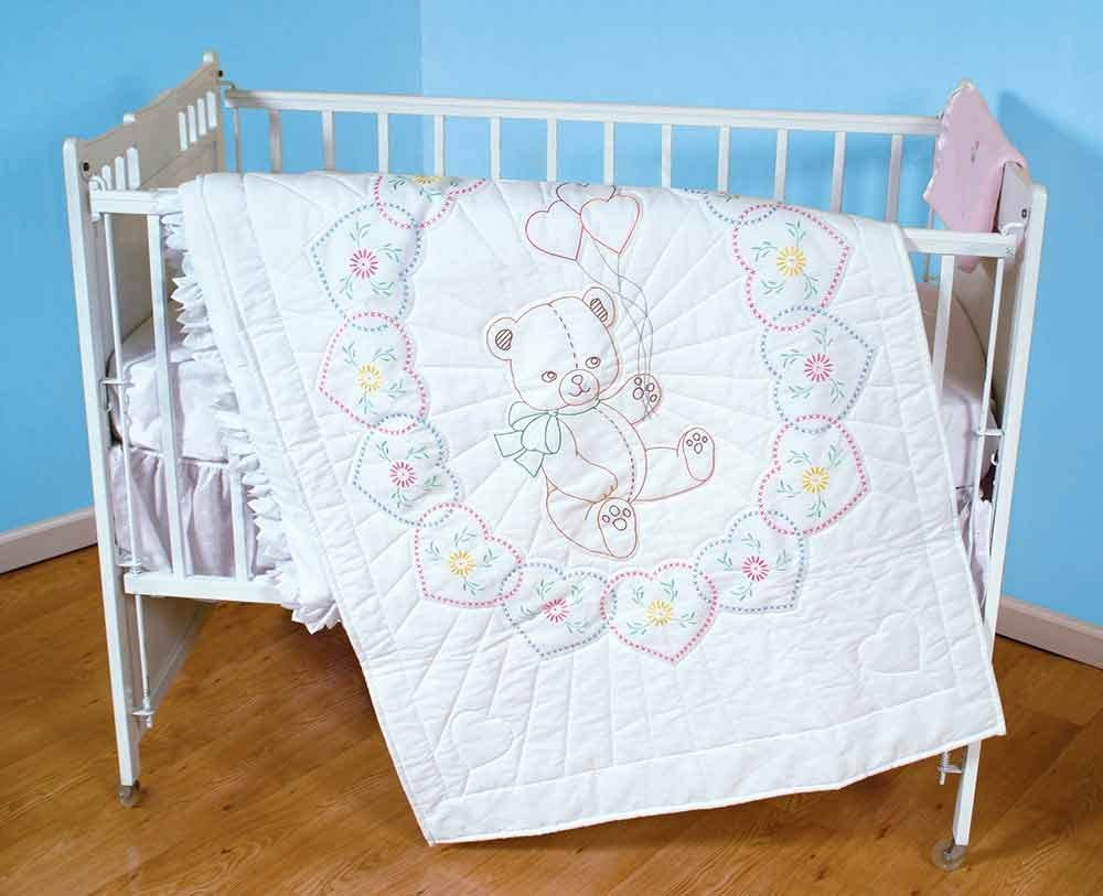 Top Now I Lay Me Down to Sleep Jack Dempsey Needle Art 406042 Crib Quilt White 40-Inch by 60-Inch