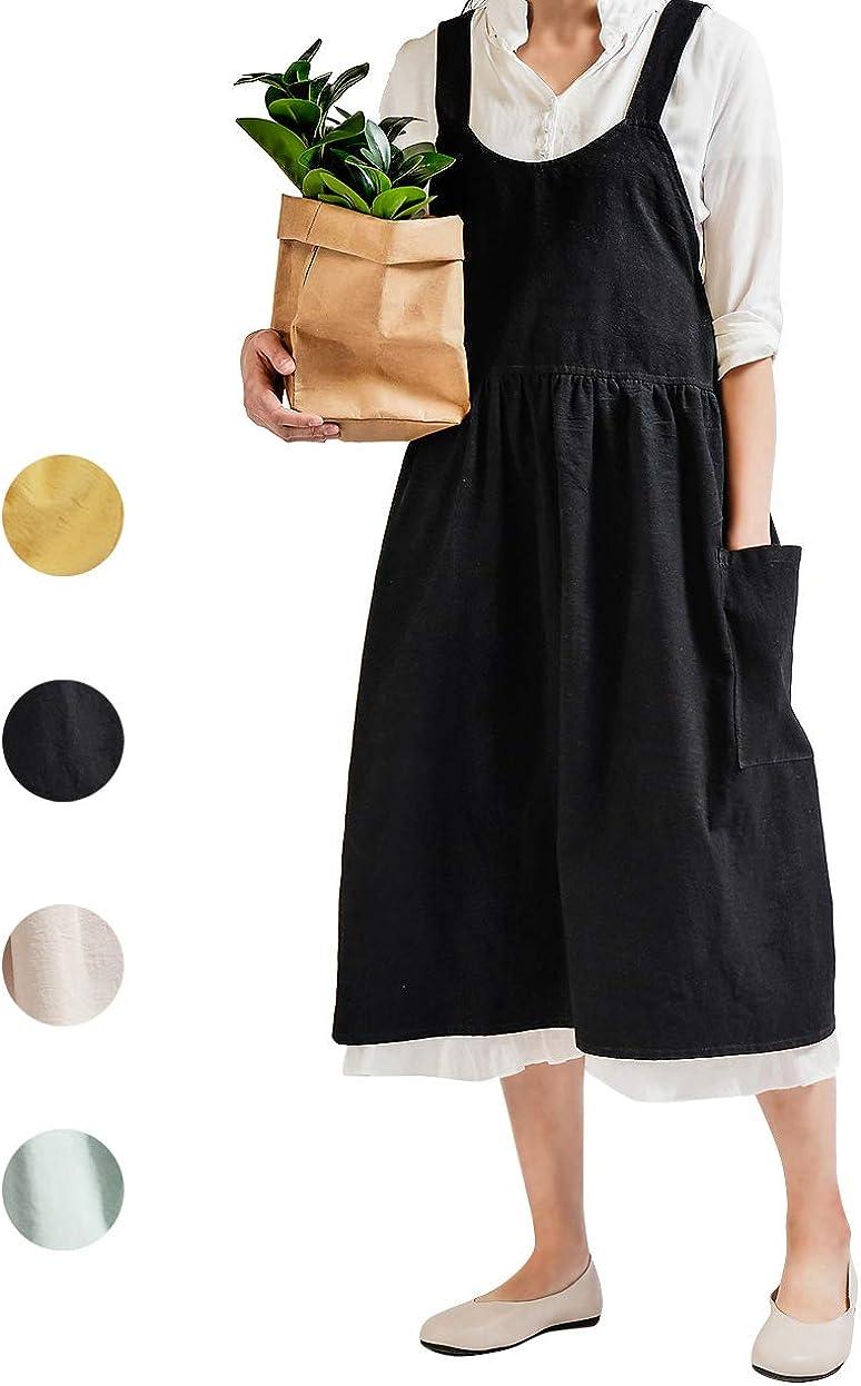 NOOS Cotton Linen Apron for Women Pinafore Dress, Halter Cross Bandage Aprons Cooking Gardening Apron Black