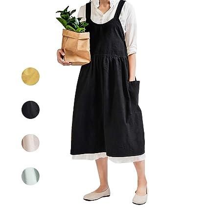 bb550a741f3b6 NOOS Soft Cotton Linen Apron Black Pinafore Dress, Halter Cross Bandage  Aprons Cooking, Fashion Coffee Shop Waist Kitchen Aprons & Women Apron for  ...