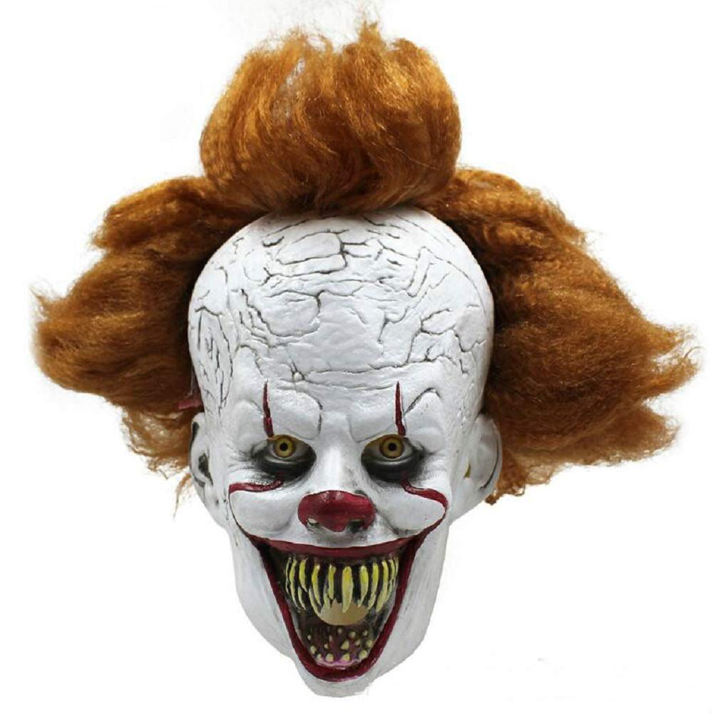 IUTOYYE Horror Clown Mask Scary Halloween Stephen King Cosplay Party Costume Latex Head Mask by IUTOYYE