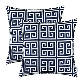 Pack of 2 CaliTime Cushion Covers Throw Pillow Cases Covers 18 X 18 Inches, Modern Geometric Matrix, Navy Blue