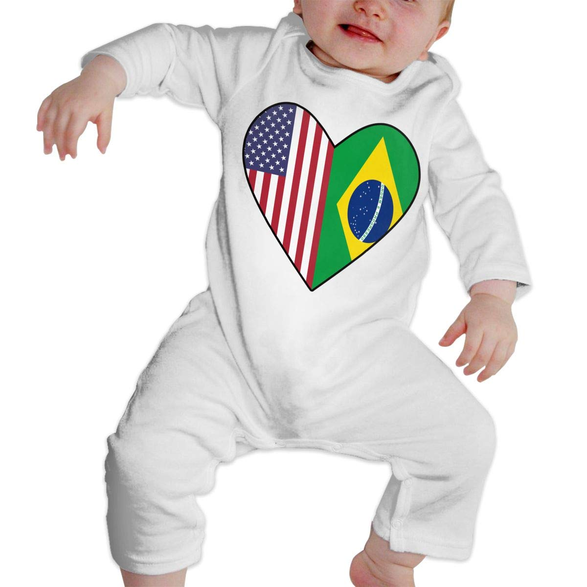 Infant Baby Boys Girls Cotton Long Sleeve Half Brazil Flag Half USA Flag Love Heart Jumpsuit Romper One-Piece Romper Clothes