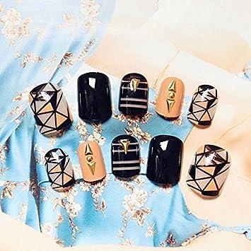 Amazon.com : 24PCS 3D Rivets Decorative Short Fake Nails Full Cover Nail Tips Faux Glitter False Nails Acrylic Artificial Nails JZJ020 : Beauty