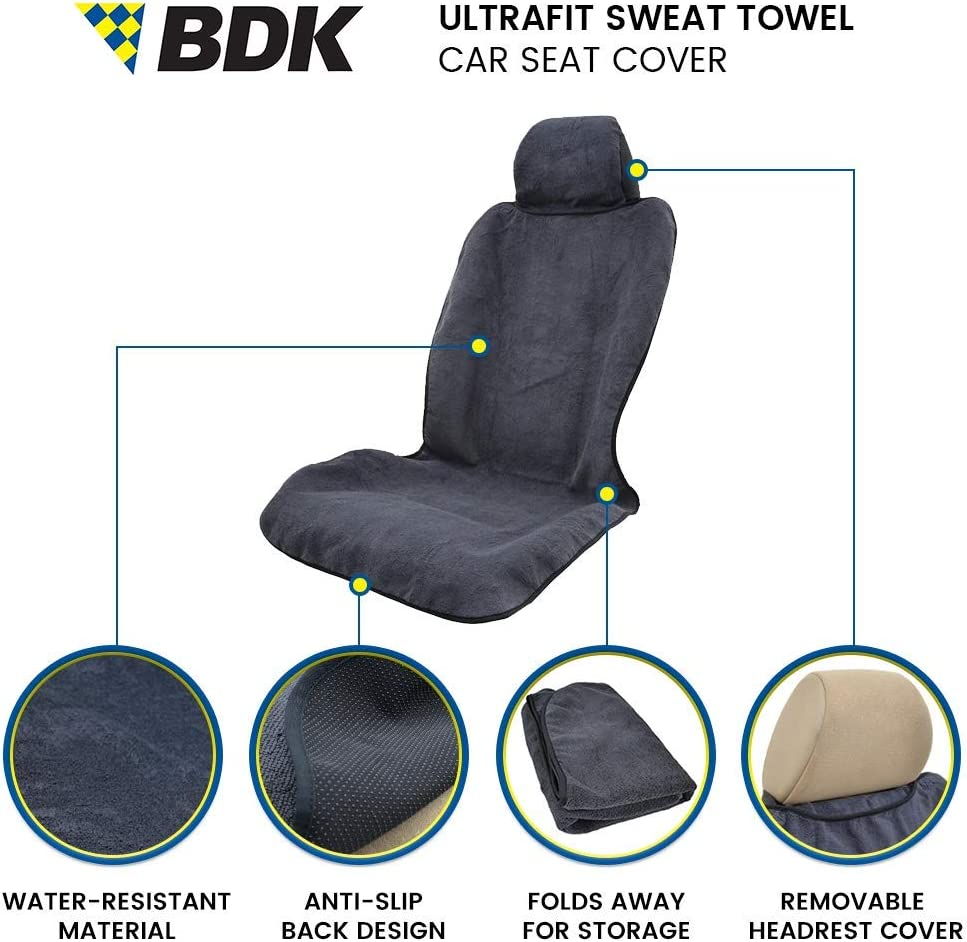2 Piece Black BDK 2P-ST-001 UltraFit Sweat Towel Auto Car Cover for Yoga Running Crossfit Workout Athletes-Waterproof Machine Washable-Beach Swimming Outdoor Sports Seat Protector