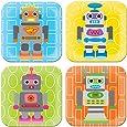 French Bull - BPA Free Children's Dinner Set - 8-Inch Melamine Kids Plate Set - Robot, Set of 4