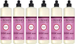 Mrs. Meyer's Clean Day Liquid Dish Soap, Cruelty Free and Non-Toxic, Peony Scent, 16 oz- Pack of 6