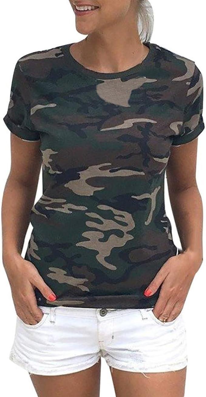 winwintom Las Mujeres Casual Camiseta Camuflaje de Manga Corta de Verano Camisa Blusa (M, Verde): Amazon.es: Ropa y accesorios