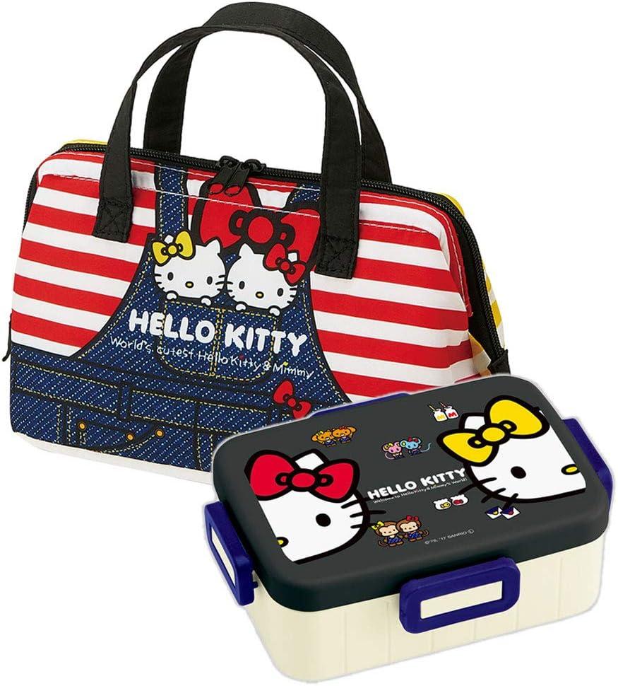 Hello Kitty - Japanese Bento Box 22oz Big Lunch Box Set - Denim (Hello Kitty Bento & Bag Denim)