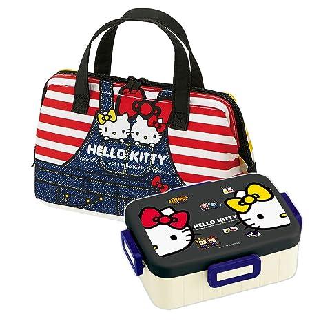 848eaa40a Amazon.com: Hello Kitty - Japanese Bento Box 22oz Big Lunch Box Set - Denim  (Hello Kitty Bento & Bag Denim): Kitchen & Dining