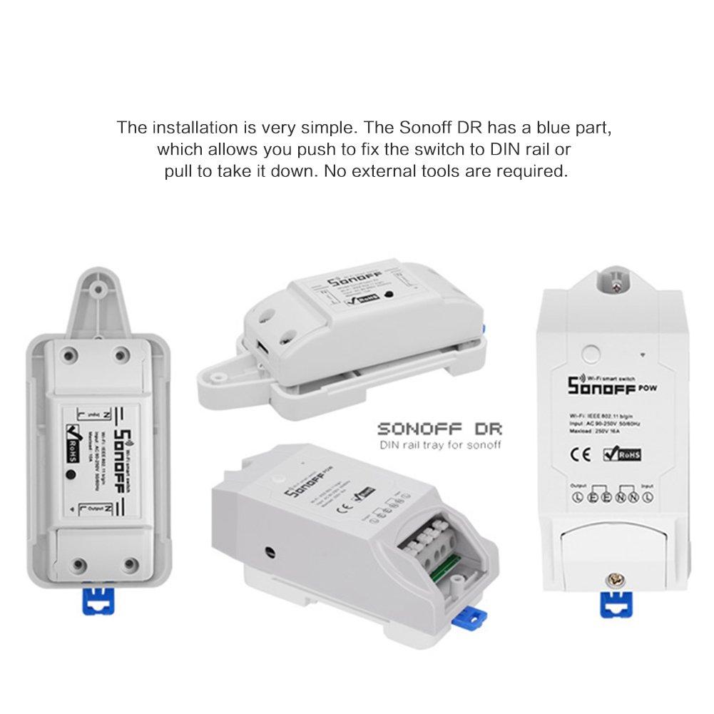 AnyIKE 1 pack Sonoff Smart WiFi Commutateur rail DIN Rail de montage Home Automation T/él/écommande on//off