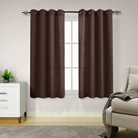 Privacy Heavy Sheer Curtains For Bedroom 63 Inches Length Casual Weave  Linen Textured Semi Sheer Window