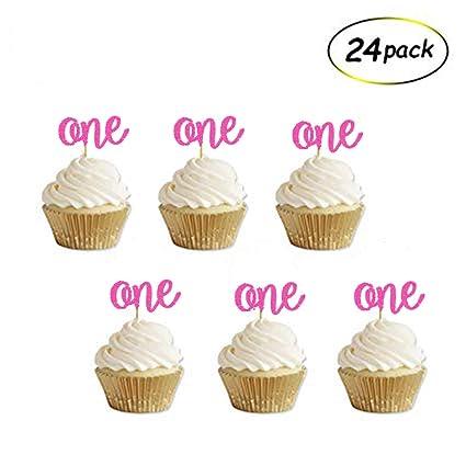 Decoración para cupcakes con purpurina rosa para primer ...