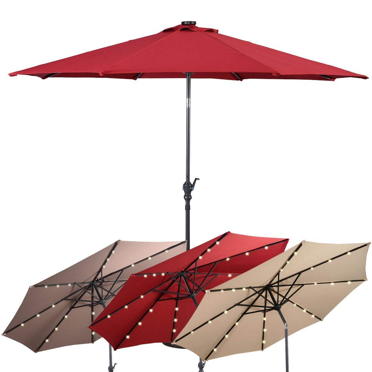 10 ft Patio Solar Umbrella With Crank And LED Lights I Umbrella With Lights I Patio Umbrellas With Solar Lights I Led Solar Umbrella I Solar Uumbrellas With Lights I Patio Umbrella Solar Lights I by BESTGOODSHOP