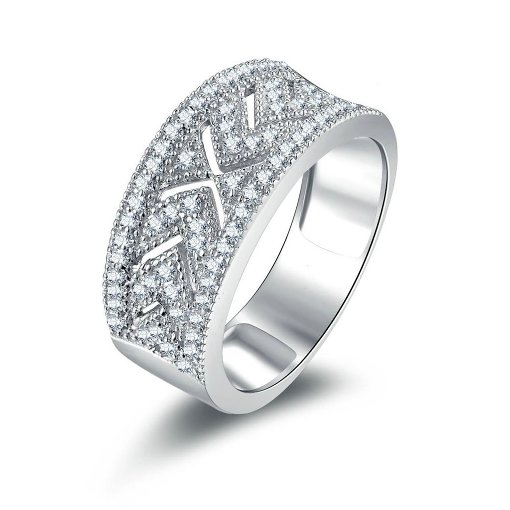 AmDxD Jewelry Silver Plated Women Promise Customizable Rings Arrow CZ Size 9,Engraving
