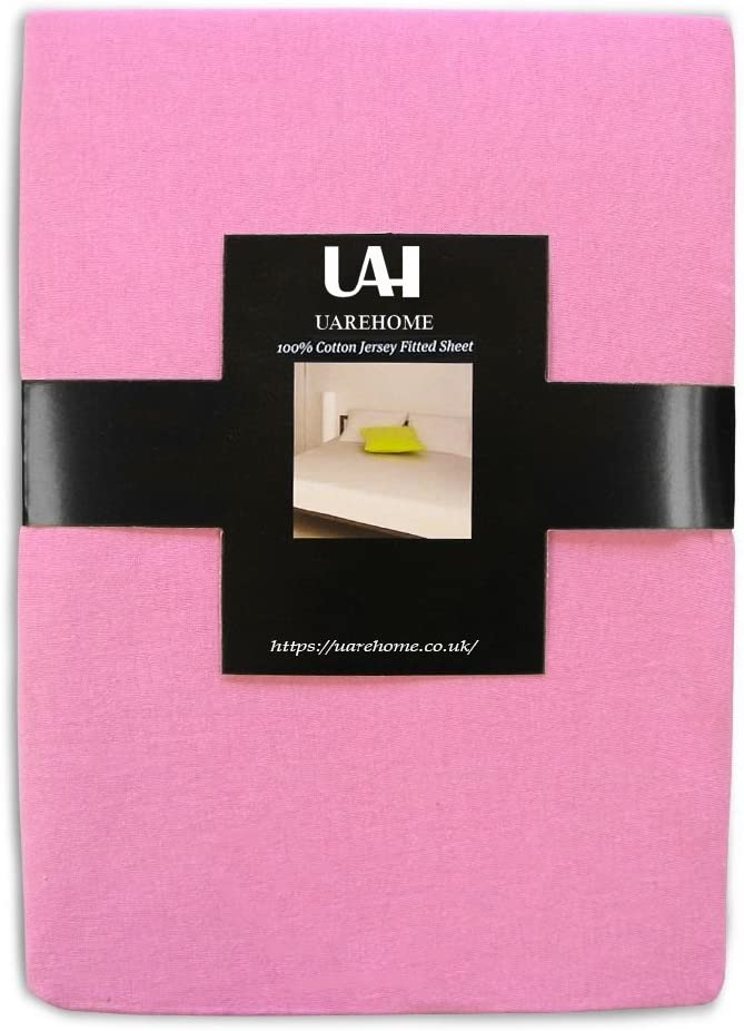 Black, Single UAREHOME 100/% Cotton Jersey Fitted Sheet