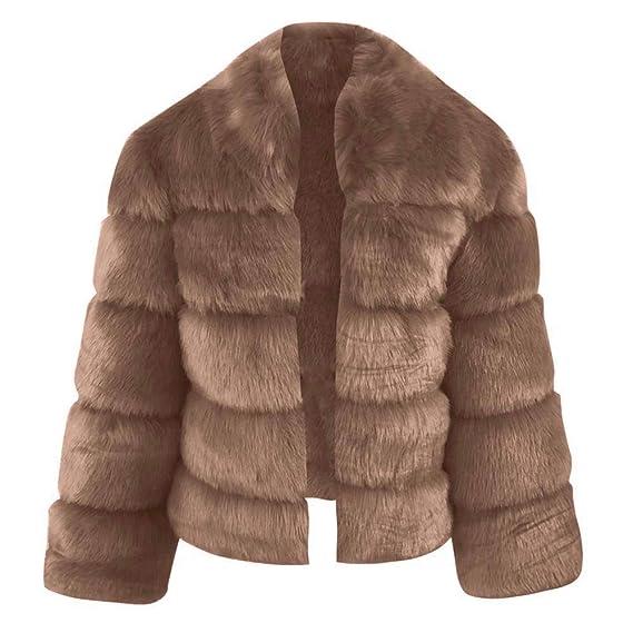 Beikoard_Abrigos de mujer, Chaqueta de Damas Cuello Alto Elegante Abrigo de Piel sintética: Amazon.es: Ropa y accesorios