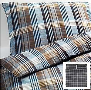 Amazon Com Ikea Benzy Blue Plaid King 3pc Duvet Quilt