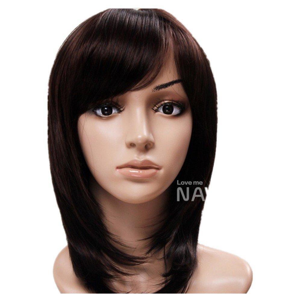 Amazon.com  Elegant Dark Brown Straight Wigs Oblique Bangs Medium For Women  Lace Wig Lacefront Wigs  Beauty 6d13c51f86