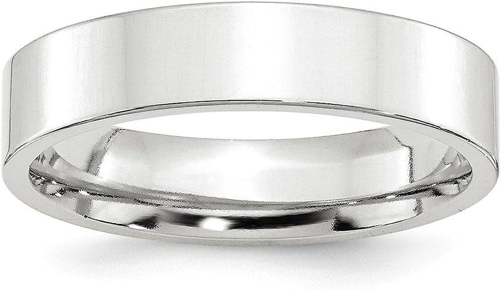 DIAMOND2DEAL INC Alianza de Boda estándar de Oro Blanco de 14 Quilates, 5 mm, Ajuste cómodo y Plano, tamaño 8