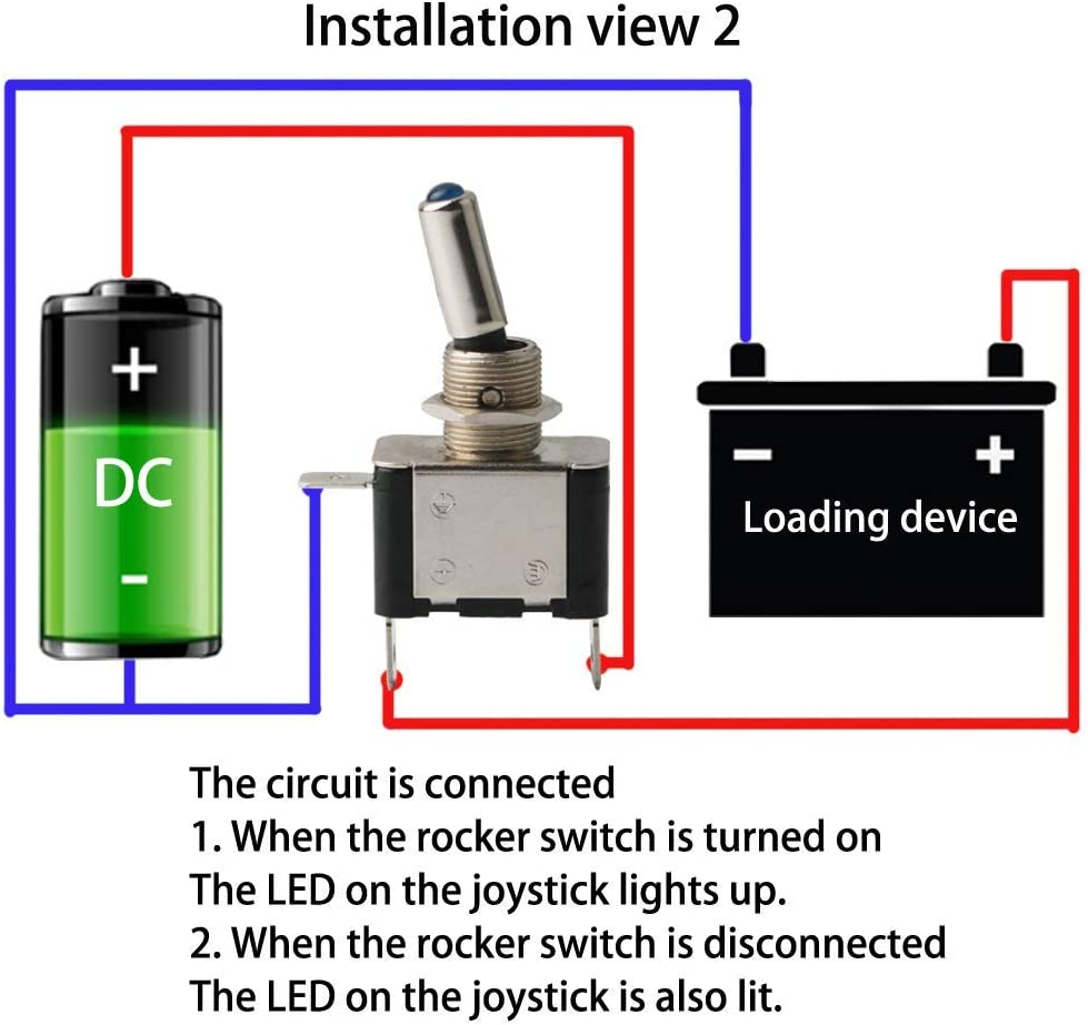 TOOHUI/® 4 x12V 20A LED Bleu /& Rouge Voiture Commutateur /à Levier Interrupteur Inverseur 2 Positions 3 Broches Interrupteur /à Bascule SPST M/étal Interrupteur /à Levier Levier On//Off LED