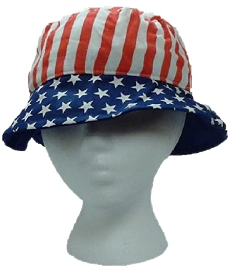 Amazon.com  Patriotic Canvas Bucket Hat - Red White and Blue - Stars ... f9b55d9eef7