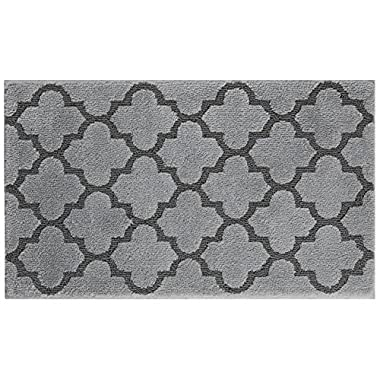 STAINMASTER Trusoft Lattice Design Bath Rug, 24 by 40-Inch, Cobble Stone Grey