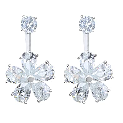 Juvel Jewelry Flower Shape Fashion Plated Drop Dangle Silver Color Earrings  for Party 144c37939a2e