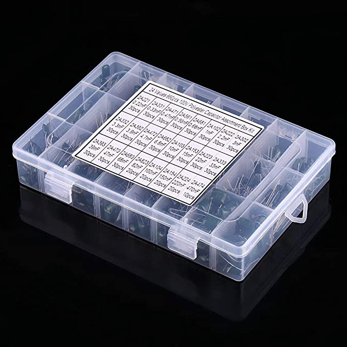 150 x 100V Film Condensatori in poliestere 15 VALORI 0.33-470nF BOX UK Venditore
