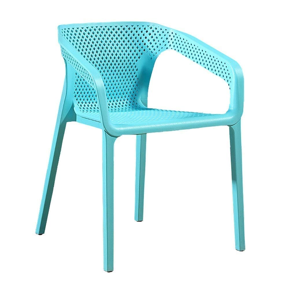 Light bluee Bar Stools, Stackable Plastic Chair, Backrest Breathable Mesh Fashion Lounge Chair Coffee Chair Dining Chair Indoor Outdoor Seat Height 45cm for Bar Kitchen Restaurant Living Room Cafe